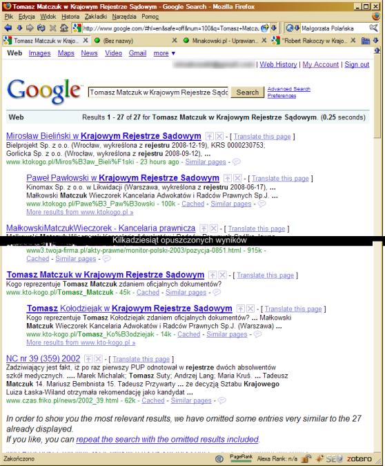 Wyniki Google - efekt nałożonej kary