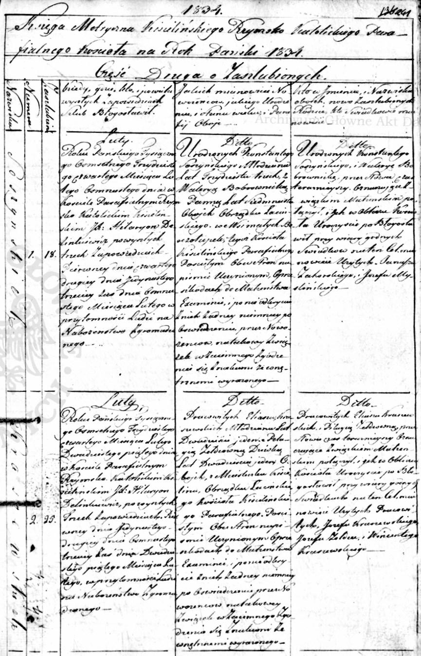 Akt ślubu Eliasza Kraszewskiego, Kisielin, 1834