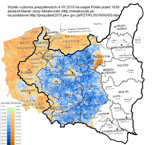 Wyniki wyborów z 2010 na mapie polski sprzed 1939