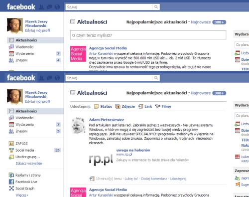 Facebook porzuca okno statusu