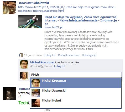 Odsyłacze w komentarzach na Facebooku