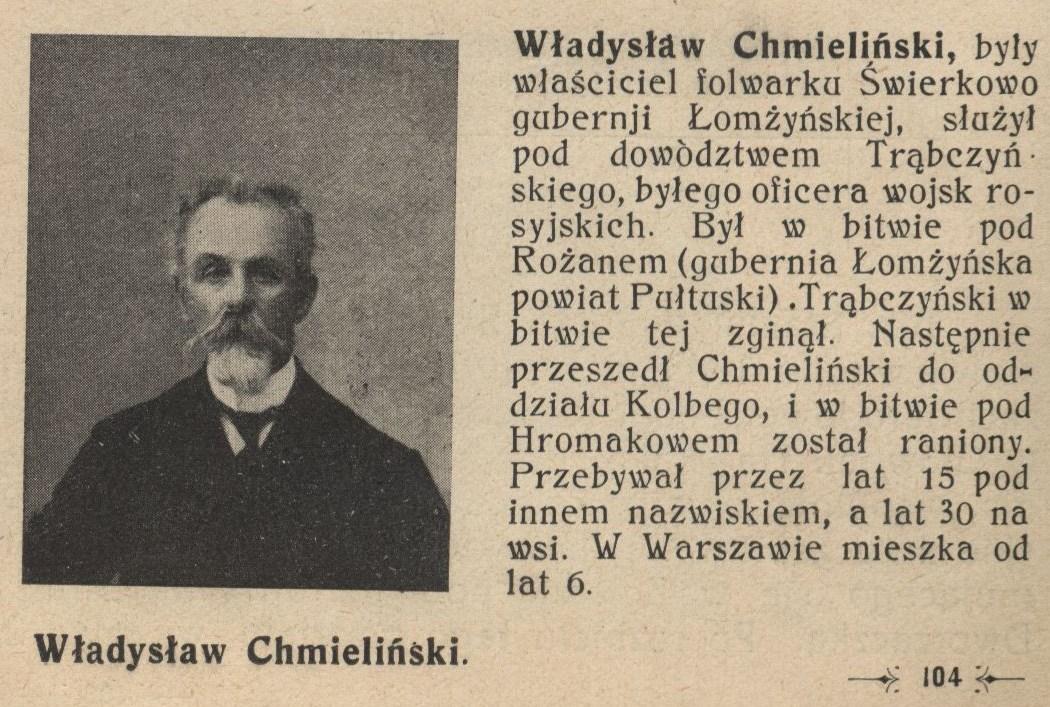 """""""Ciernistym szlakiem"""", Warszawa 1916, s. 104: biogram W. Chmielińskiego"""