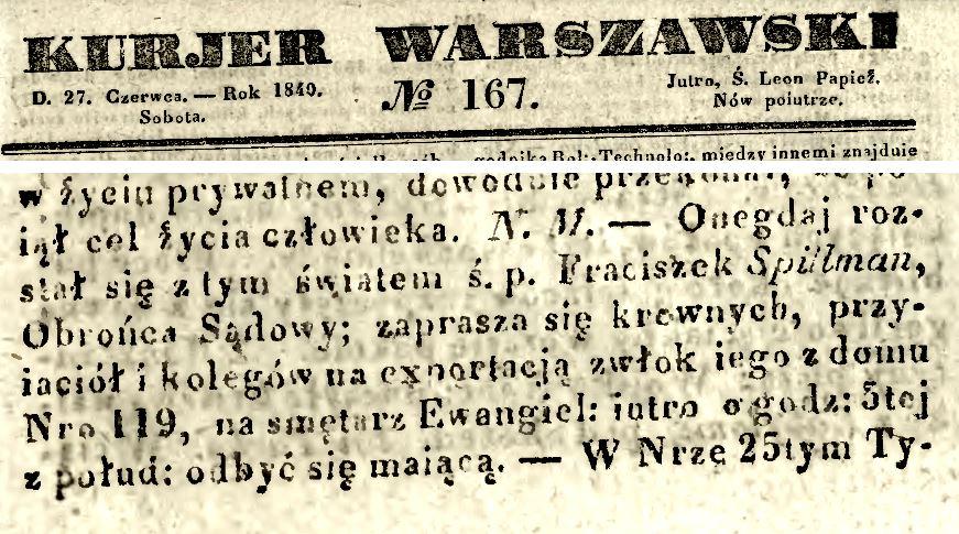 Nekrolog Franciszka Spillmana, Kurier Warszawski 167/1840