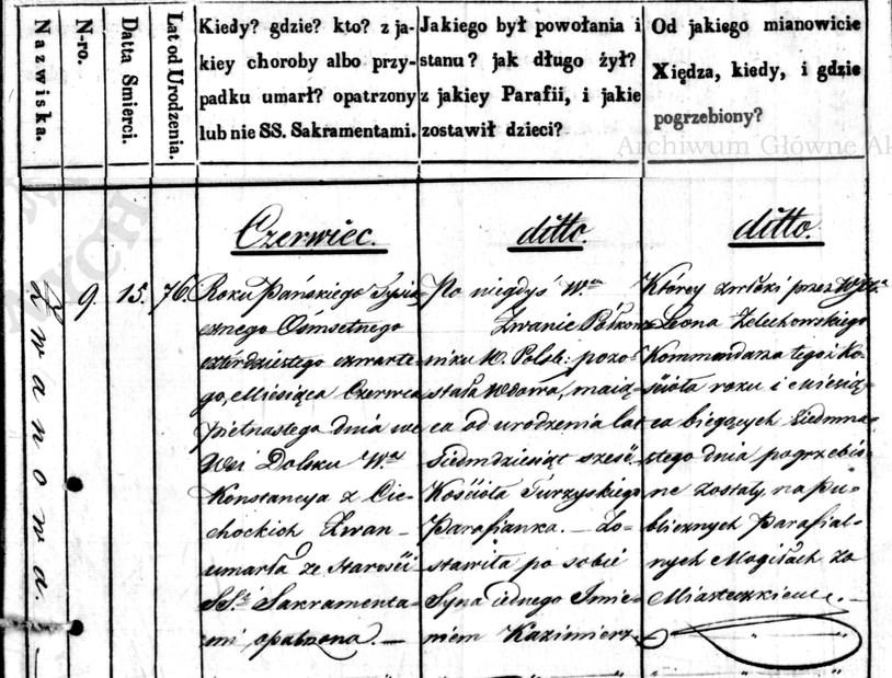 Akt zgonu Konstancji z Cichockich Żwanowej, Akta zgonów parafii Turzysk, 9/1844