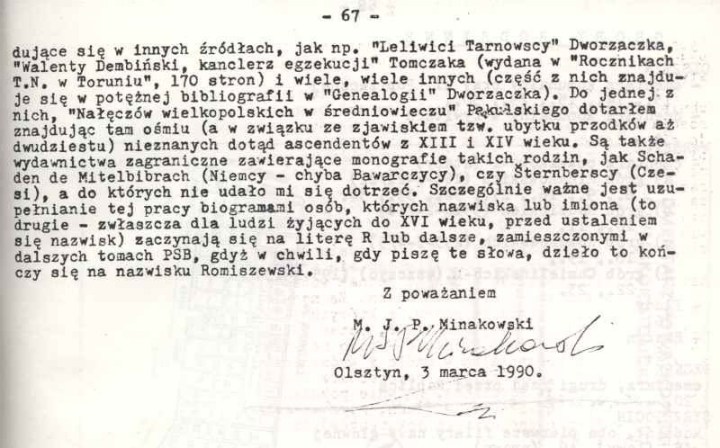 Wywód przodków M.J.P. Minakowskiego, rok 1990