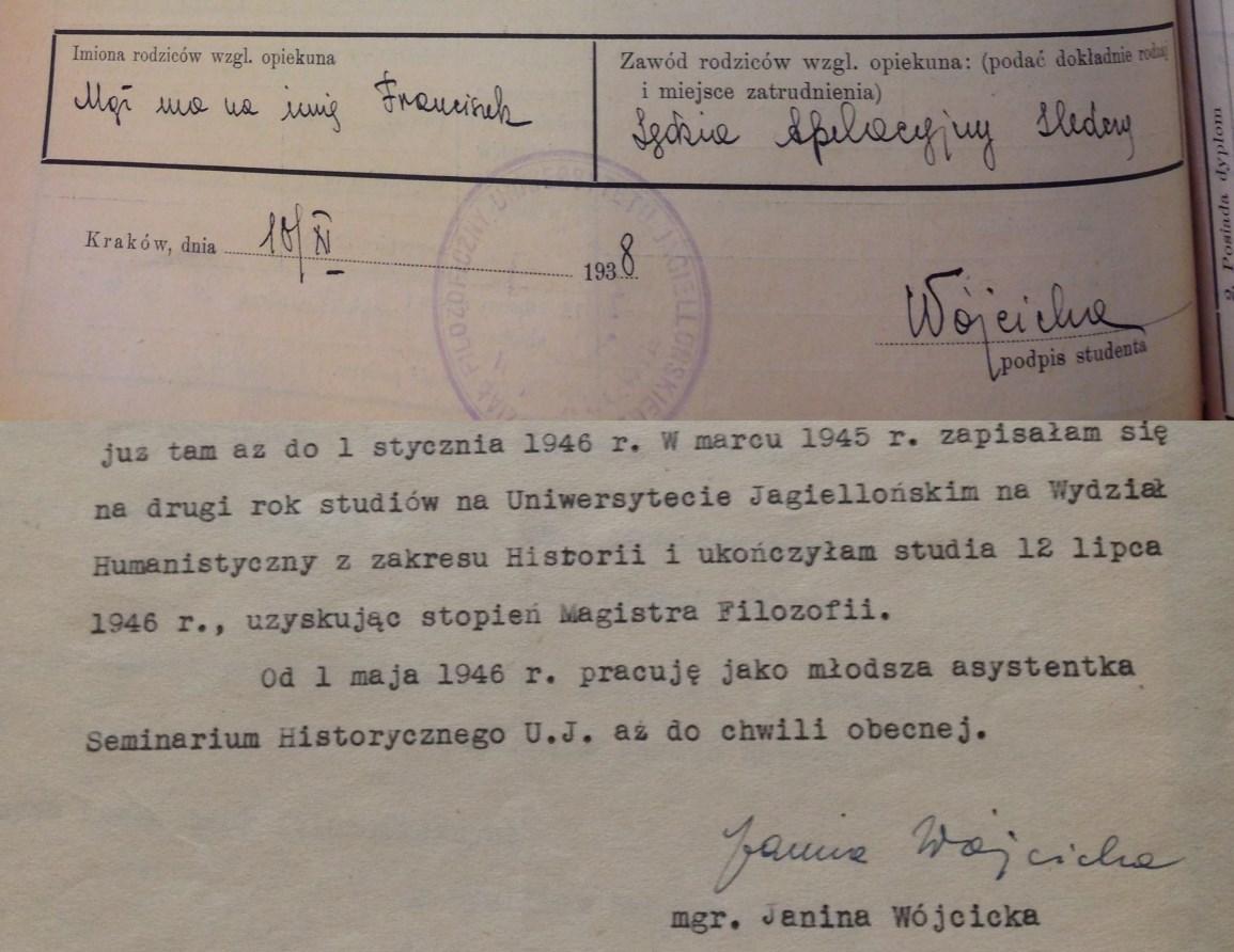 """""""Mąż ma na imię Franciszek"""" - Fragment formularza wpisowego na studia Janiny Wójcickiej z 1938 r. i końcówka jej CV doktorskiego z 1947 r. - oba dokumenty w Archiwum UJ"""