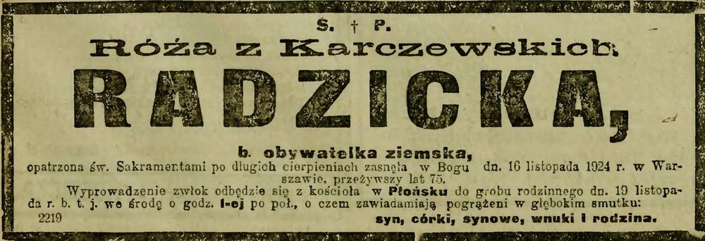Nekrolog Róży z Karczewskich Radzickiej